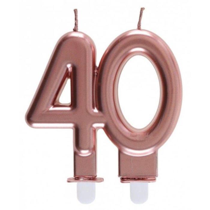 Festivitré Bougie Metallisee Rose Gold Age 80 Ans 6