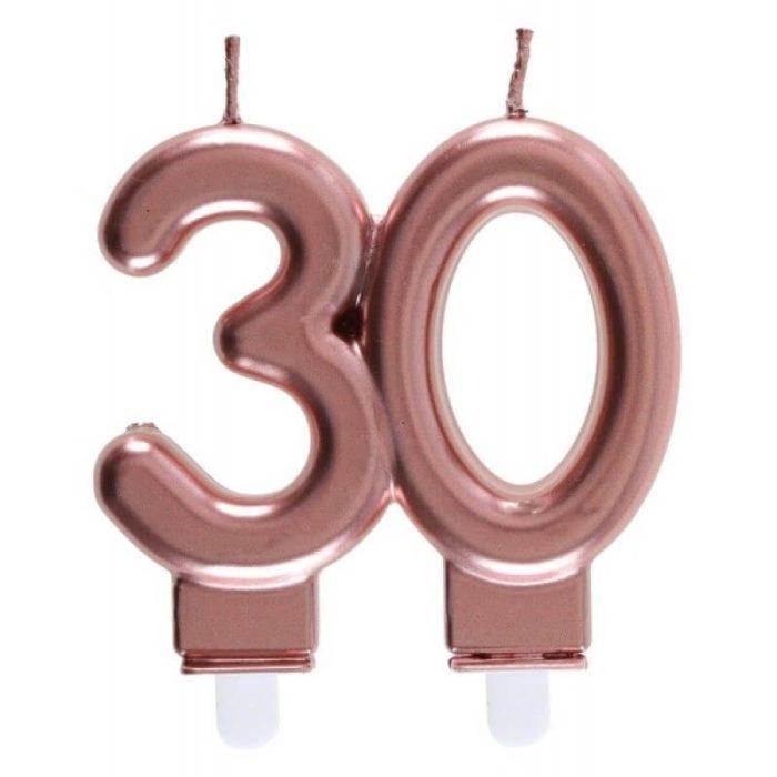 Festivitré Bougie Metallisee Rose Gold Age 80 Ans 7