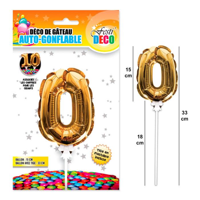 Festivitré Deco 3 Doré Gateaux Bougie 0 Ballon