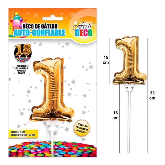 Festivitré Deco 3 Doré Gateaux Bougie 1 Ballon
