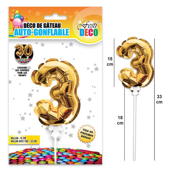 Festivitré Deco 3 Doré Gateaux Bougie 3 Ballon