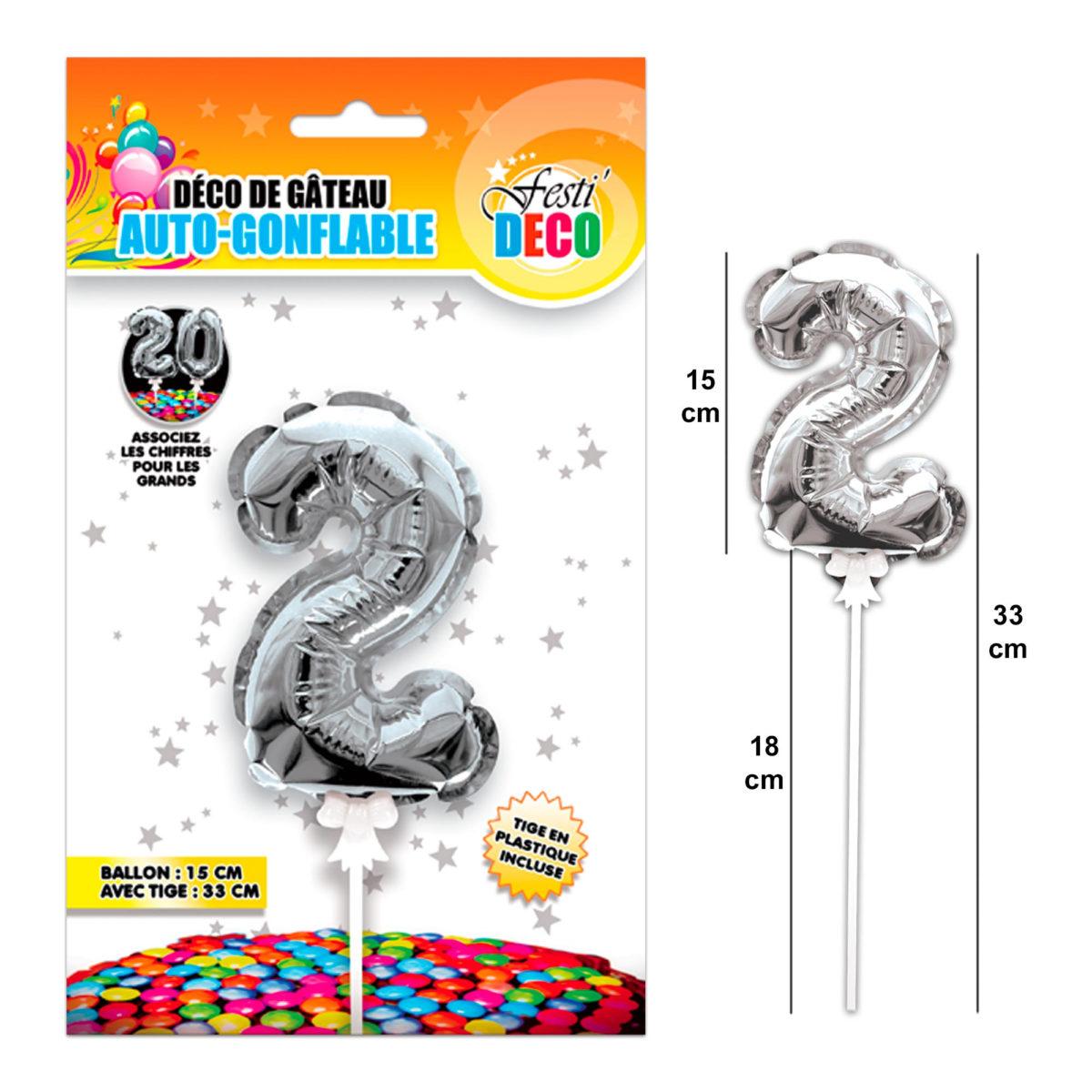 Festivitré Deco 3 Gateaux Bougie 2 Ballon