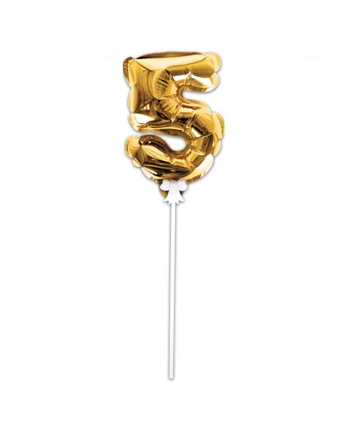 Festivitré Deco Doré Gateaux Bougie 5 Ballon