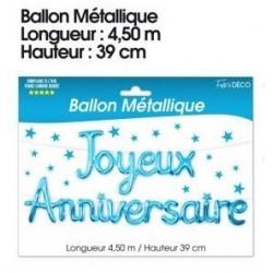 Festivitré Guirlande Ballon Metallique Joyeux Anniversaire Bleu