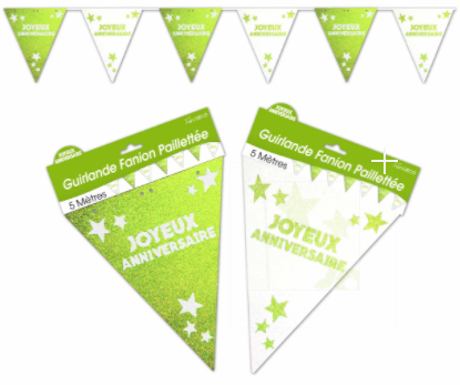 Festivitré Guirlande Fanion Pail Vert