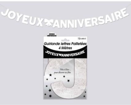 Festivitré Ja Lettre Pailleté Blanc