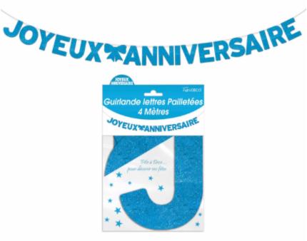 Festivitré Ja Lettre Pailleté Bleue