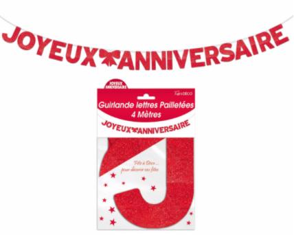 Festivitré Ja Lettre Pailleté Rouge