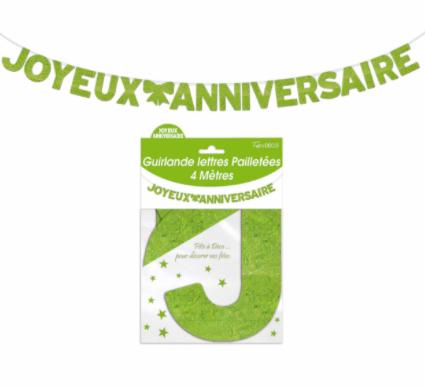 Festivitré Ja Lettre Pailleté Verte