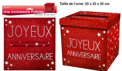 Festivitré Urne Ja Paillette Rouge