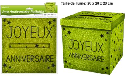 Festivitré Urne Ja Paillette Verte