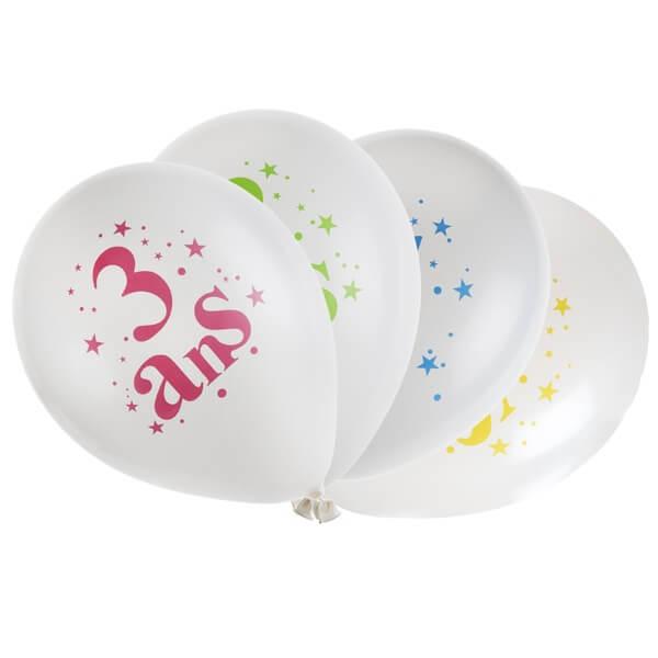 Festivitré Ballon Anniversaire 3 Ans Blanc Et Multicolore En Latex