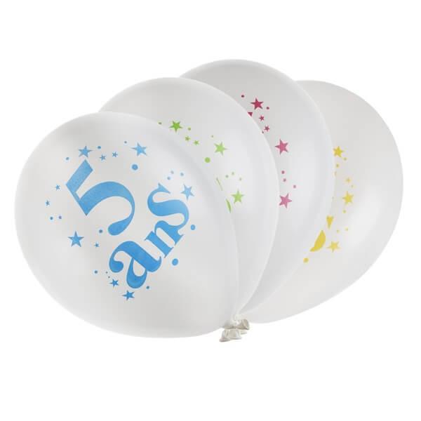 Festivitré Ballon Anniversaire 5 Ans Blanc Et Multicolore En Latex
